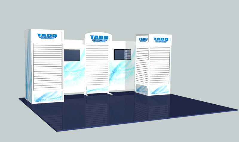 slat wall trade show booth with flat screen