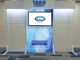 You can add hardware for a flat screen on all sleeve graphic with slat wall trade show booths