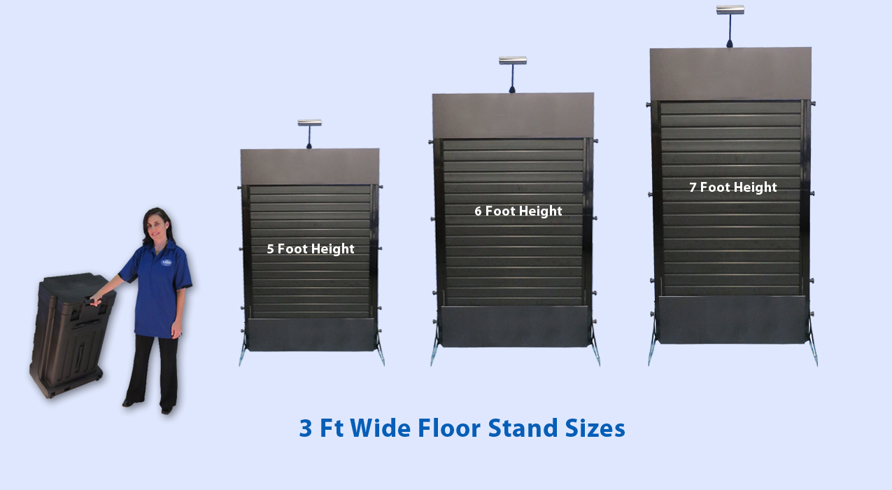 slat wall floor stand in all sizes