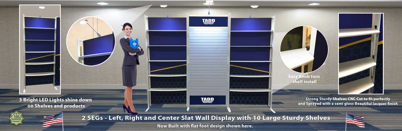 trade show booth with slat wall panels and shelves