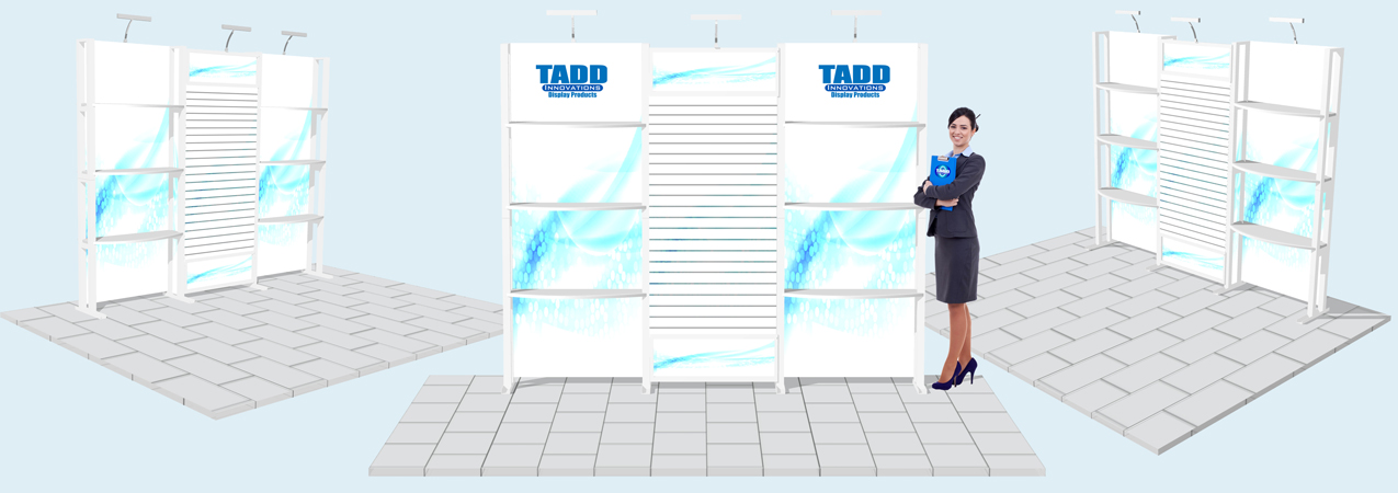 trade show booth with shelves and slat wall