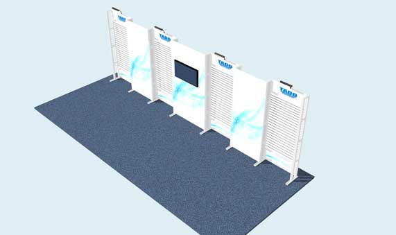 trade show booth  with slat wall exhibit