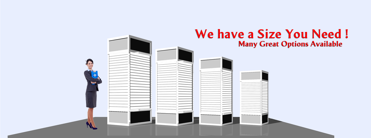 slat wall towers in many sizes