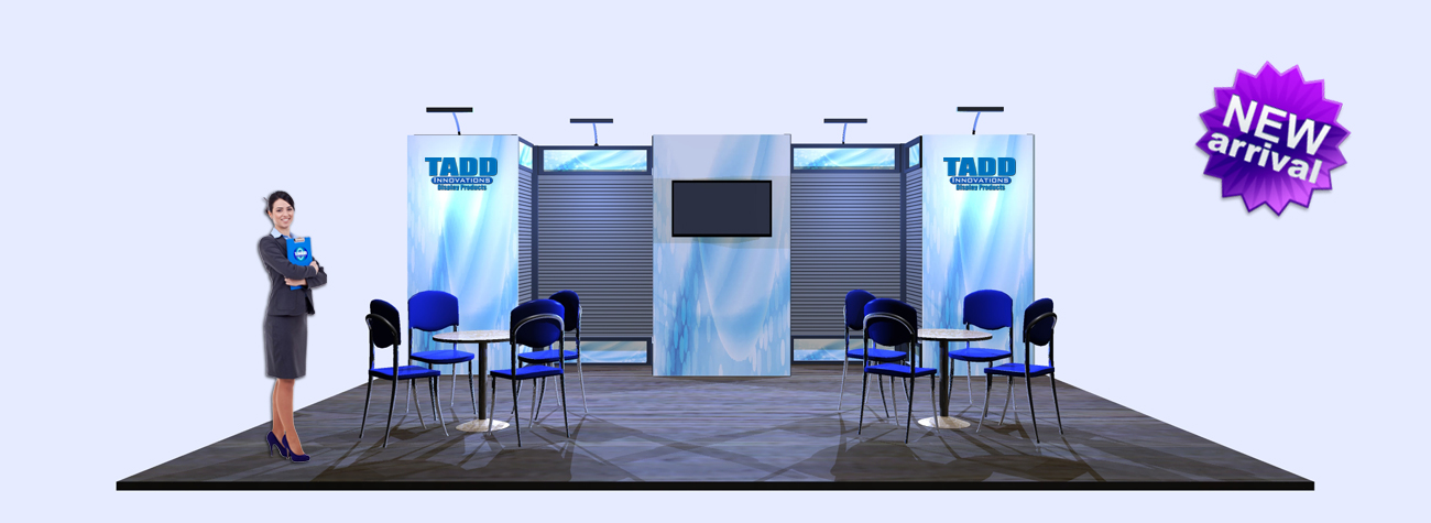 20 foot trade show booth with slat wall