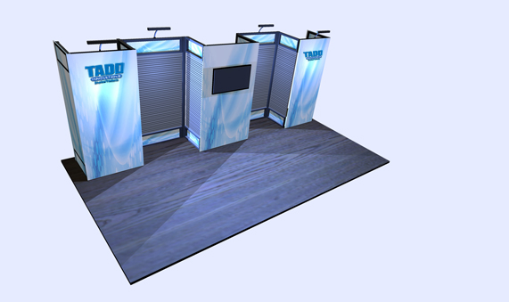 slat wall trade show booth with seg graphics