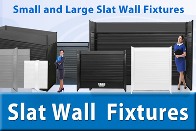 Large slat wall fixtures for trade shows