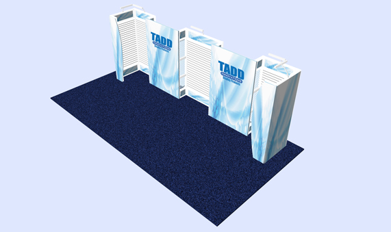 Slat wall trade show bbooth with SEG fabric graphics
