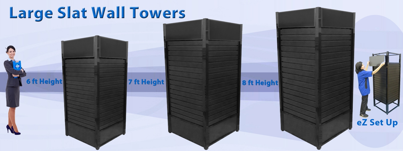 Square Slat Wall Towers from Large to Larger to Largest