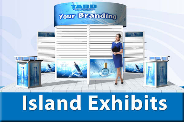 slat wall island displays for trade shows